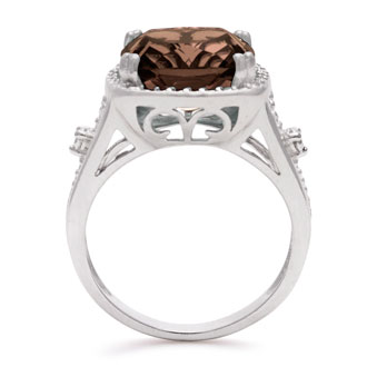 5 1/3 Carat Cushion Cut Halo Style Smoky Quartz Ring In Sterling Silver