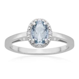 0.60ct Oval Aquamarine and Diamond Halo Ring In Sterling Silver