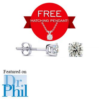 dbf2222bb50e63 1/2ct Diamond Stud Earrings in 14k White Gold with FREE Matching Diamond  Pendant!