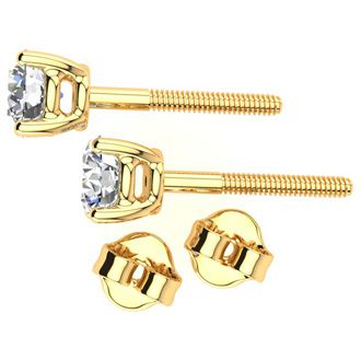 1/2ct Diamond Stud Earrings in 14k Yellow Gold with FREE Matching Diamond Pendant!