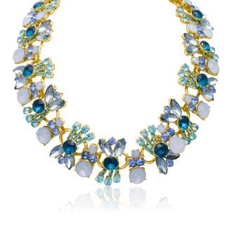 Aqua And Sapphire Crystal Bib Necklace