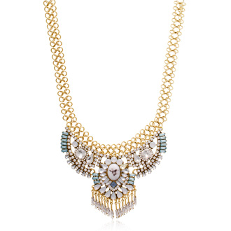 Aqua and Opal Crystal Collar Necklace