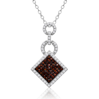 1/4 Carat Chocolate Bar Champagne and White Diamond Pave Necklace In Sterling Silver, 18 Inches