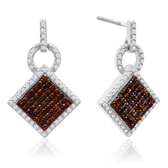 1/2 Carat Chocolate Bar Champagne and White Diamond Pave Dangle Earrings In Sterling Silver