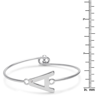 "Initial ""A"" Bangle Bracelet With Cubic Zirconia Accent"
