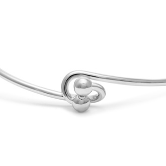 "Initial ""E"" Bangle Bracelet With Cubic Zirconia Accent"