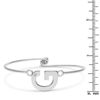 """G"" Initial Bangle Bracelet With Cubic Zirconia Accent"