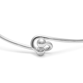"Initial ""K"" Bangle Bracelet With Cubic Zirconia Accent"