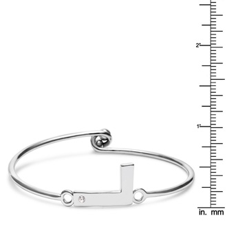 "Initial ""L"" Bangle Bracelet With Cubic Zirconia Accent"