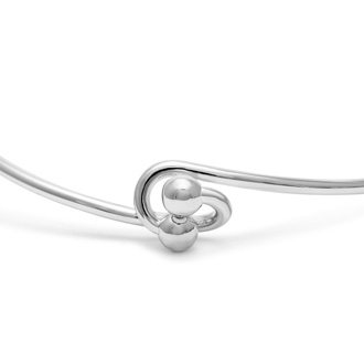 "Initial ""O"" Bangle Bracelet With Cubic Zirconia Accent"