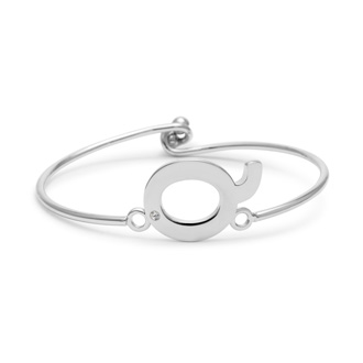 "Initial ""Q"" Bangle Bracelet With Cubic Zirconia Accent"