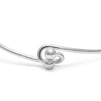"""R"" Initial Bangle Bracelet With Cubic Zirconia Accent"