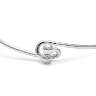 """T"" Initial Bangle Bracelet With Cubic Zirconia Accent"