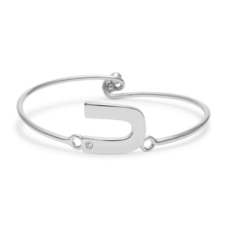 "Initial ""U"" Bangle Bracelet With Cubic Zirconia Accent"