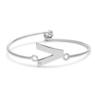 "Initial ""V"" Bangle Bracelet With Cubic Zirconia Accent"