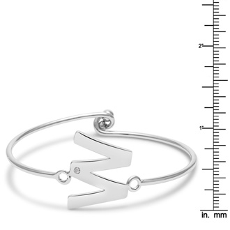 "Initial ""W"" Bangle Bracelet With Cubic Zirconia Accent"