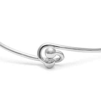 "Initial ""Z"" Bangle Bracelet With Cubic Zirconia Accent"