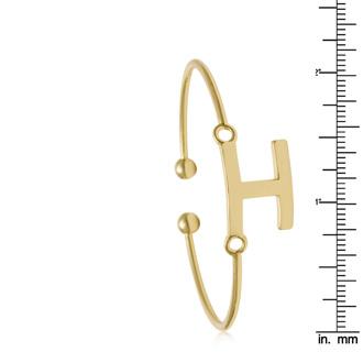 """FREE ENGRAVING Yellow Gold """"H"""" Initial Bangle Bracelet"""
