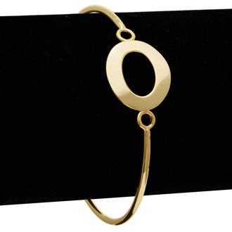 "FREE ENGRAVING Yellow Gold ""O"" Initial Bangle Bracelet"