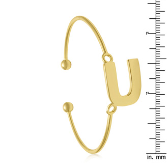 """FREE ENGRAVING Yellow Gold """"U"""" Initial Bangle Bracelet"""