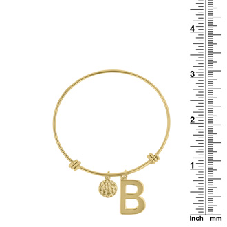 """Yellow Gold """"B"""" Initial Expandable Wire Bangle Bracelet"""
