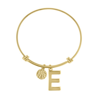 "Yellow Gold ""E"" Initial Expandable Wire Bangle Bracelet"