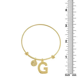 "Yellow Gold ""G"" Initial Expandable Wire Bangle Bracelet"