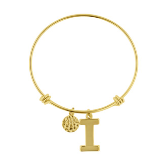 """I"" Initial Expandable Wire Bangle Bracelet In Yellow Gold"