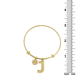 "Yellow Gold ""J"" Initial Expandable Wire Bangle Bracelet"