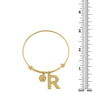 "Yellow Gold ""R"" Initial Expandable Wire Bangle Bracelet"