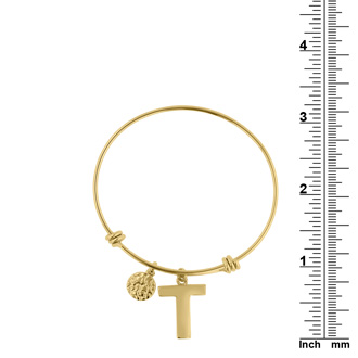 "Yellow Gold ""T"" Initial Expandable Wire Bangle Bracelet"