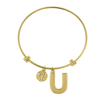 "Yellow Gold ""U"" Initial Expandable Wire Bangle Bracelet"
