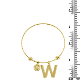 """W"" Initial Expandable Wire Bangle Bracelet In Yellow Gold"