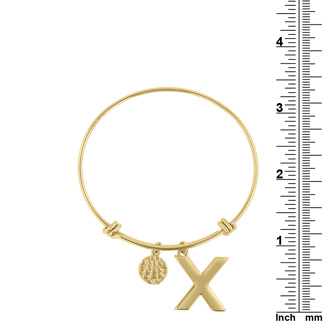 """Yellow Gold """"X"""" Initial Expandable Wire Bangle Bracelet"""
