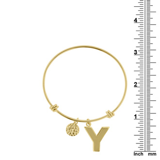 "Yellow Gold ""Y"" Initial Expandable Wire Bangle Bracelet"
