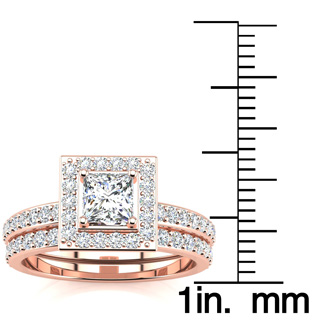 1 Carat Princess Cut Pave Halo Diamond Bridal Set in 14k Rose Gold