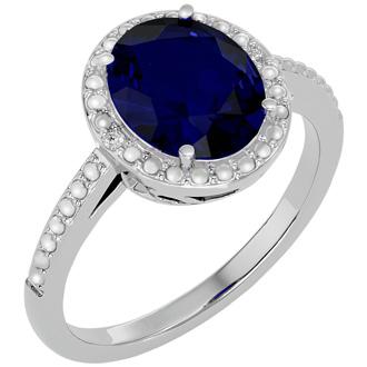 3 ½ Carat Sapphire and Diamond Halo Ring