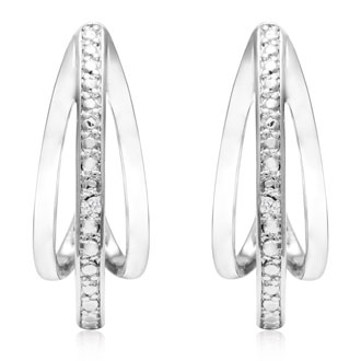 Diamond J-Hoop Earrings