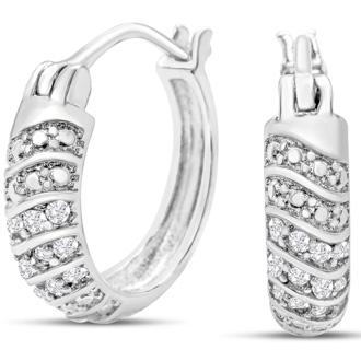 1/4ct Four Row Diamond Hoop Earrings, Our Most Popular 1/4 Carat Diamond Hoops!