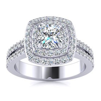 1.50-carat Halo Engagement Ring with a 3/4-carat Cushion Cut Center Diamond in 14k White Gold