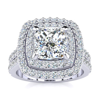 2. 2.50-carat Halo Engagement Ring with a 1.50-carat Cushion Cut Center Diamond in 14k White Gold