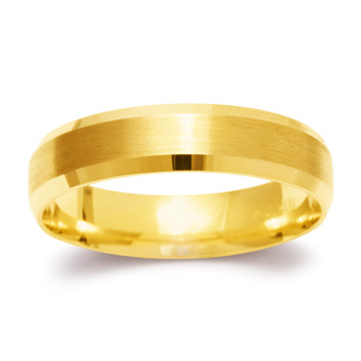 5mm Beveled Band with Brushed Top  in Solid Yellow Gold
