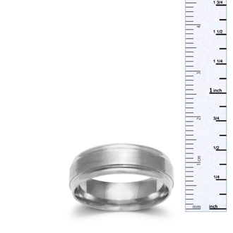 6.5mm Mens and Ladies Brush Center Finished Wedding Band in 14 Karat White Gold