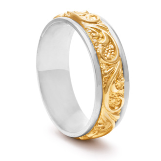 7.5mm Two-Tone Mens and Ladies Filigree Wedding Band In 14 Karat Gold