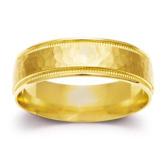 6mm Mens and Ladies Hammered Center Finished Wedding Band in 14 Karat Yellow Gold