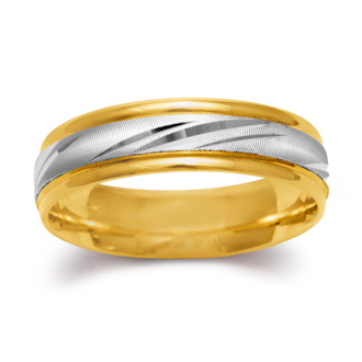 5.8mm Two-Tone Mens and Ladies Hand Engraved Satin Finished Wedding Band In 14 Karat Gold