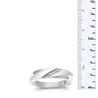 5.7mm Three Diamond Mens Satin Finished Wedding Band in White Gold