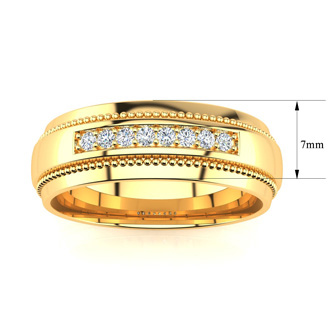7mm Diamond Mens Satin Finished Milgrain Wedding Band in Yellow Gold