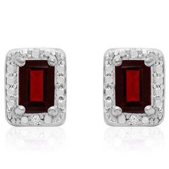 1 1/2 Carat Emerald Shape Garnet and Halo Diamond Earrings
