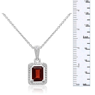 1 3/4ct Emerald Shape Garnet and Diamond Halo Necklace